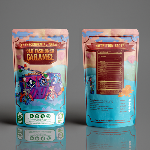 Caramel design with the title 'Packaging design for THC caramel candy'