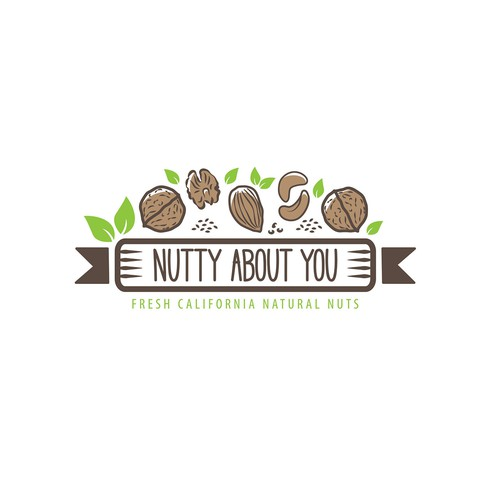 Nut logo with the title 'Nutty About You'