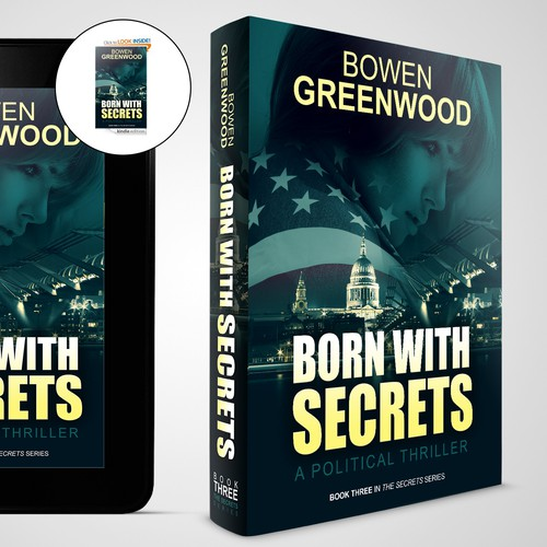 Kindle book cover with the title 'Winning entry - book cover design for a political thriller'