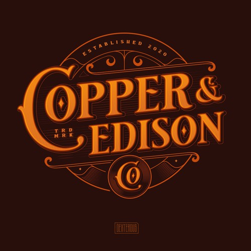 Steampunk design with the title 'Copper & Edison Co'