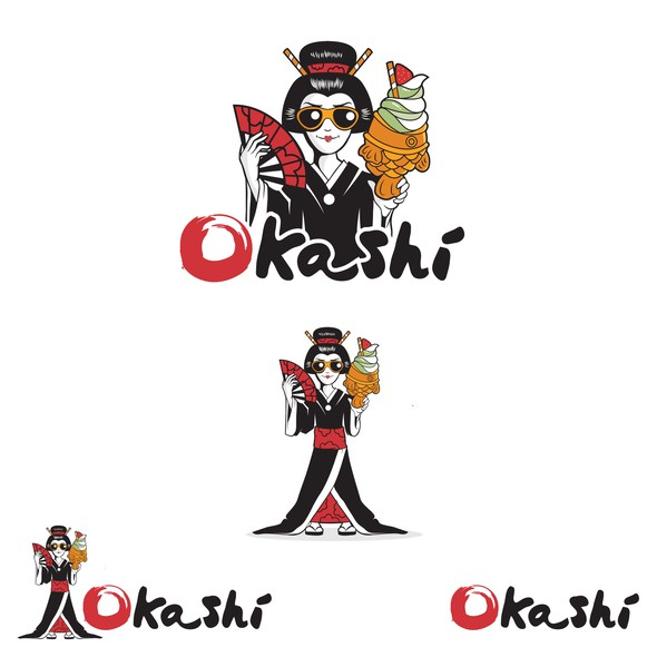 Fan design with the title 'Okashi'