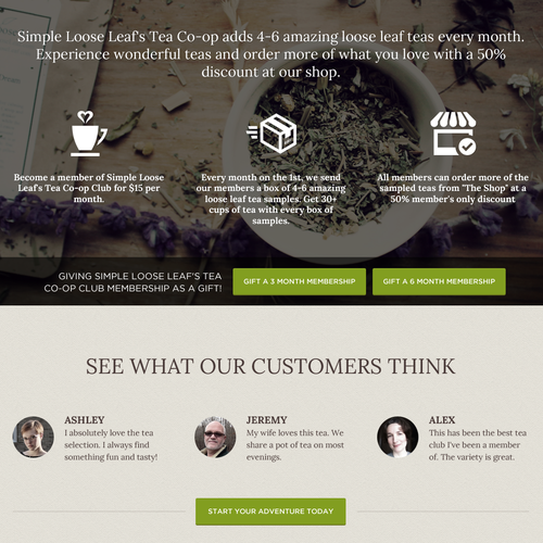 Homepage design with the title 'Landing Page/Subscription Signup Page for a Tea of the Month Subscription Box'