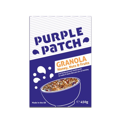Breakfast food packaging with the title 'Packaging design for breakfast granola'