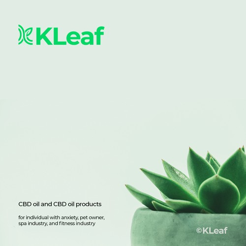 Brochure logo with the title 'K + leaf cover by idStudio'