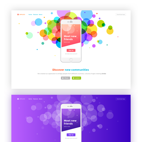 Scroll design with the title 'Landing page for mobile app'