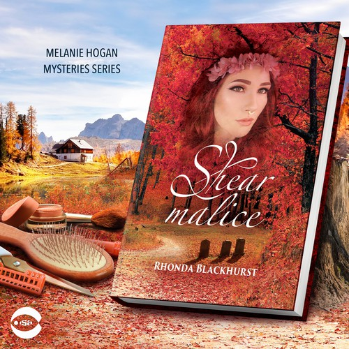 """Novel book cover with the title 'Book cover for """"Shear Malice"""" by Rhonda Blackhurst'"""