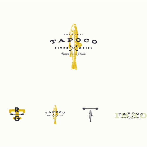 Farm-to-table logo with the title 'Tapoco River Grill'