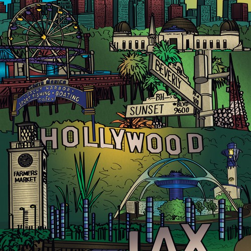 Farmer's market design with the title 'Los Angeles Theme Illustration'
