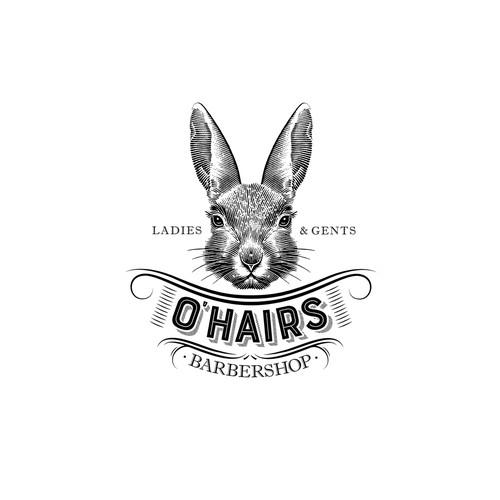Hare logo with the title 'O' Hairs Barbershop'