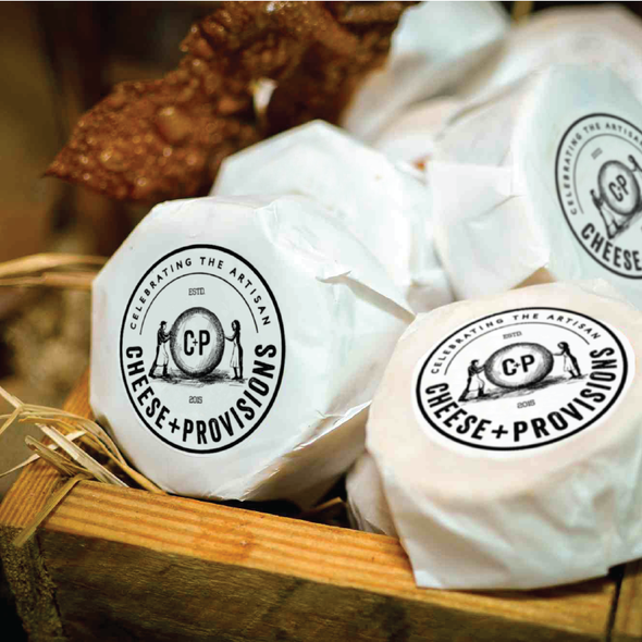 Cheese design with the title 'Logo design for Cheese+Provisions, a cheese store celebrating American artisans'