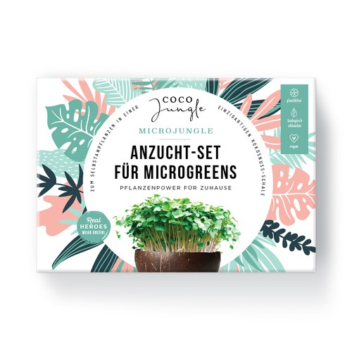 Sustainable design with the title 'Packaging Kit to grown you own Microgreens in a coconut'
