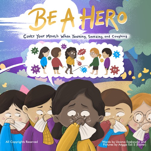 Book cover artwork with the title 'Be a hero'