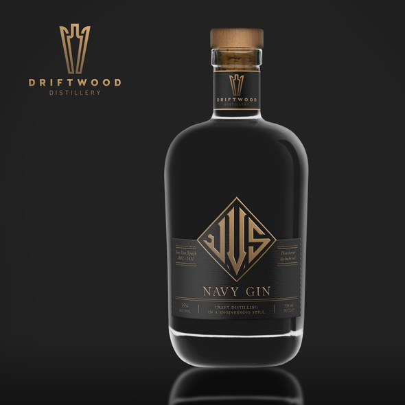 Navy design with the title 'Gin label design'