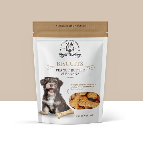 Dog packaging with the title 'A Gourmet Line Dog Biscuits Entry'
