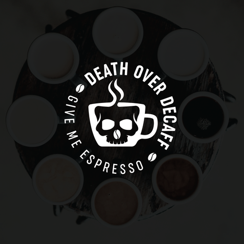 Death logo with the title 'Death Over Decaff'