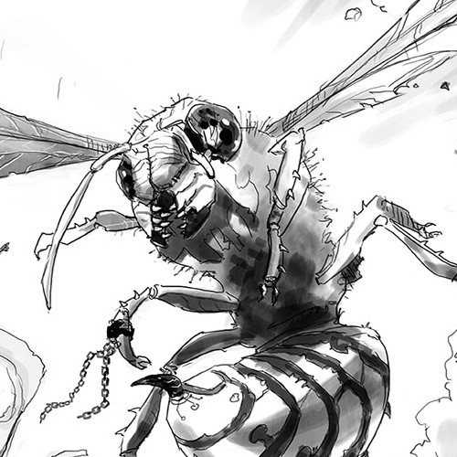 Sketch artwork with the title 'The Wasp Sketch'
