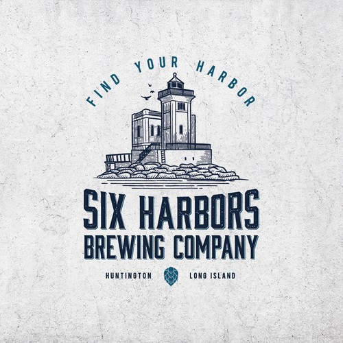 Lighthouse logo with the title 'A vintage hand-drawn logo design for brewing company'