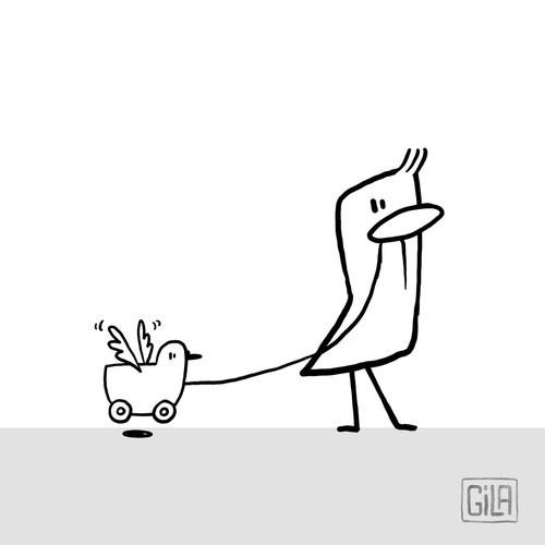 Sketch design with the title 'Quirky bird illustration'