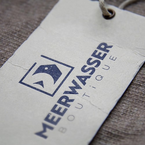 Aquarium logo with the title 'Logo MeerWasser Boutique'
