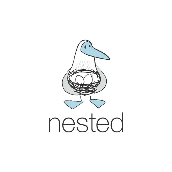 """Scribble logo with the title 'Blue-Footed Booby logo for """"nested""""'"""