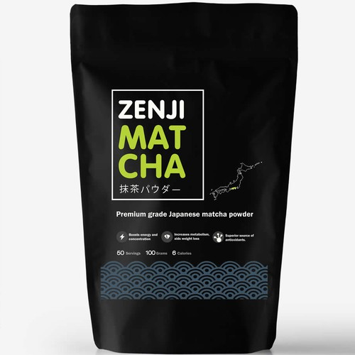 Healthy food design with the title 'Zenji Premium Matcha powder '
