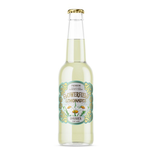 Winner label with the title 'Flowerfield: Label in Art Deco style for a series of lemonades.'