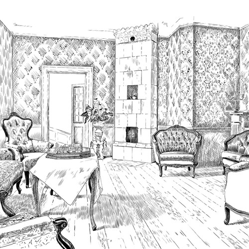 Engraving artwork with the title 'Line art for hotel interior'