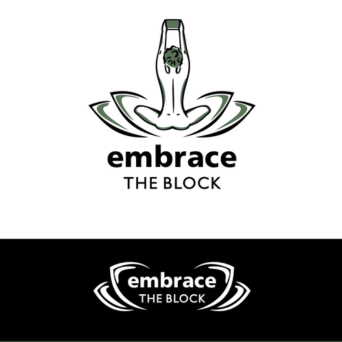 Dark green logo with the title 'Embrace the block'