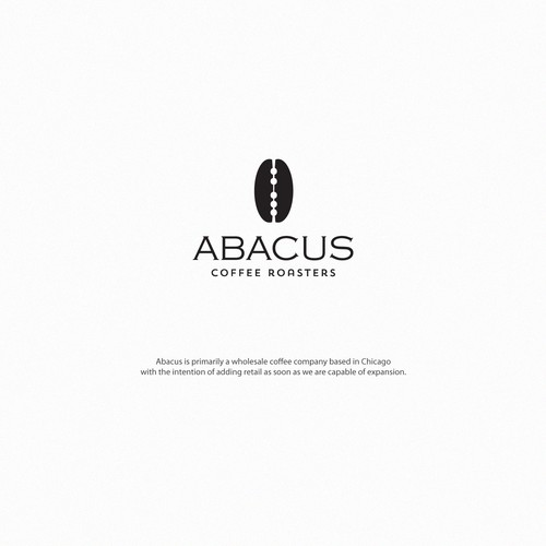 Brown and black design with the title 'abacus coffee roasters'