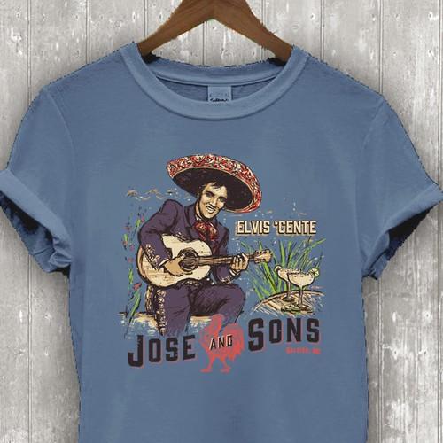 "T-shirt with the title '""Mariachi Elvis"" original (handdrawn) illustration'"