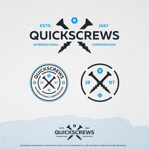Woodworking logo with the title 'Quickscrews'