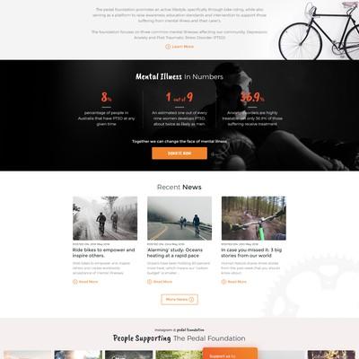 Home Page Design for Pedal Foundation a Non-Profit Organization.