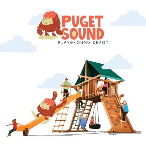 Sasquatch design with the title 'Puget Sound - Playground Depot'