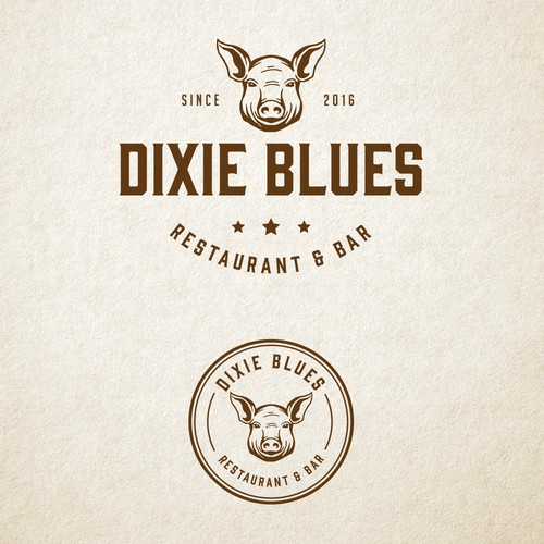 Pig design with the title 'DIXIE BLUES LOGO DESIGN'