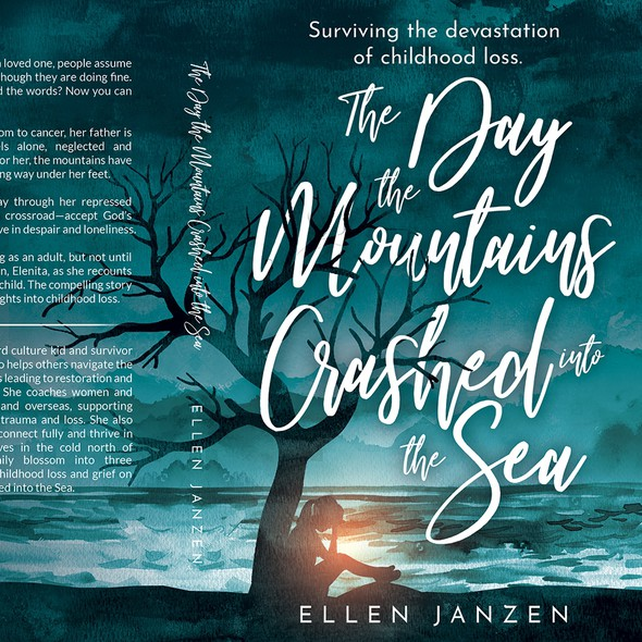 Watercolor book cover with the title 'The Day the Mountains Crashed into the Sea'