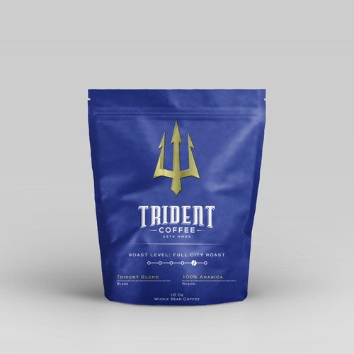 Roasted coffee packaging with the title 'Trident Coffee'