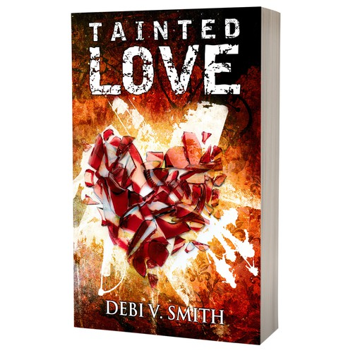 Paperback book cover with the title 'Book cover design - Tainted Love by author Debi V. Smith'