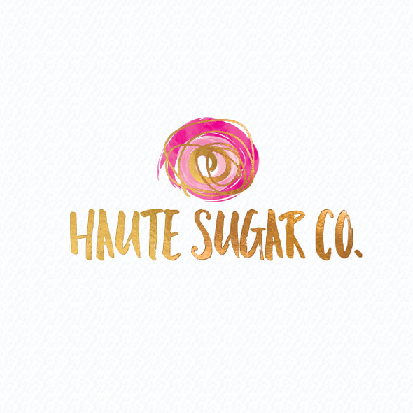 Gold foil logo with the title 'Haute sugar is an alcohol infused cotton candy company with different toppings'