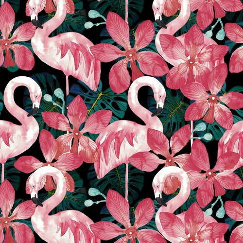 Jungle design with the title ' Seamless jungle textile pattern with flamingos'