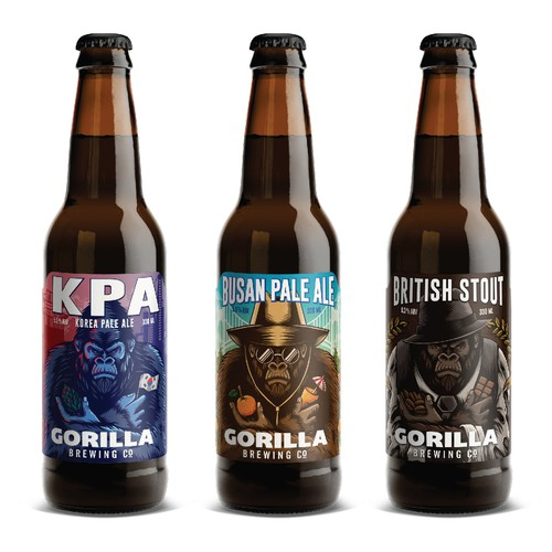 Beer label with the title 'Gorilla brewing label design'
