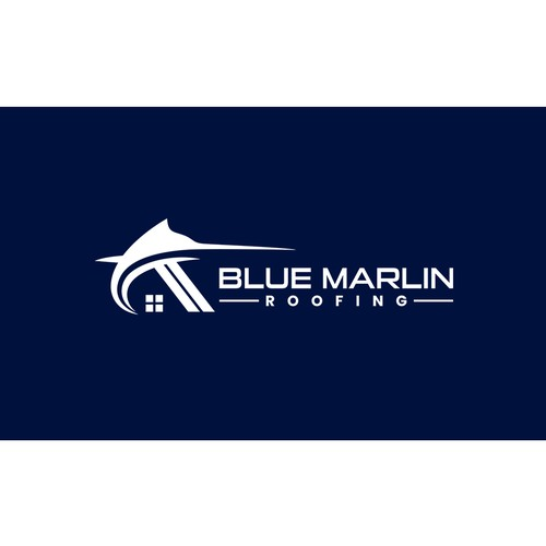 Trout logo with the title 'Blue Marlin Logo for Roofing Company'