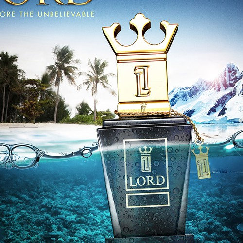 Beach design with the title 'Lord Perfum Poster'
