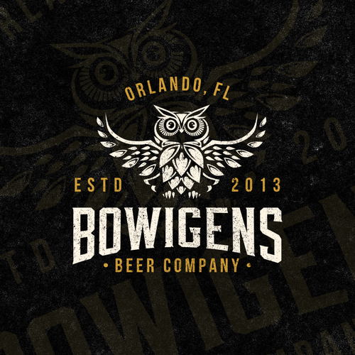 Owl logo with the title 'Bowigens Beer Company'