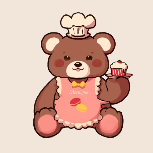 Apron design with the title 'Bear mascot for bake sales'
