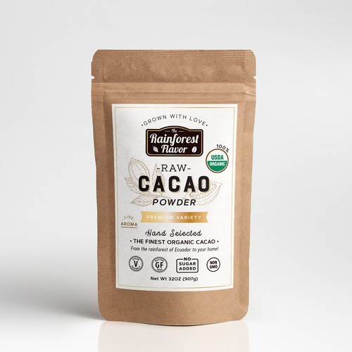 Cocoa design with the title 'Raw Cacao label'