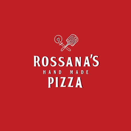Pizza packaging with the title 'Rossana's hand made pizza'