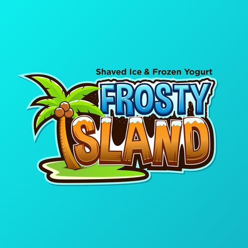 Palm tree logo with the title 'Fresh logo concept for Shaved Ice & Frozen Yogurt Shop'