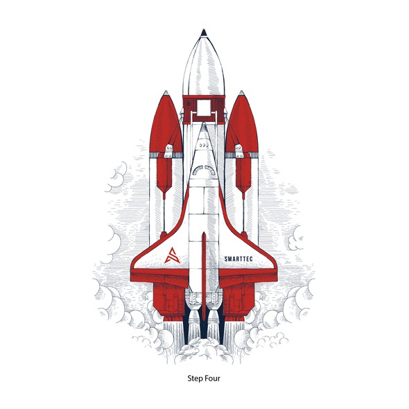 Technical design with the title 'Smarttec set of rocket illustrations'