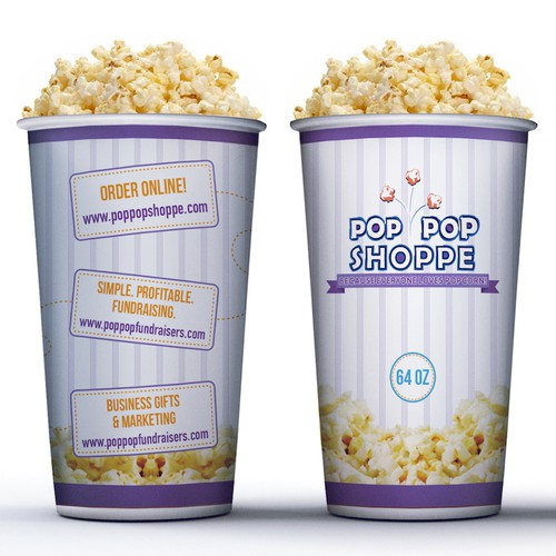 Popcorn design with the title 'Popcorn Cup Design'