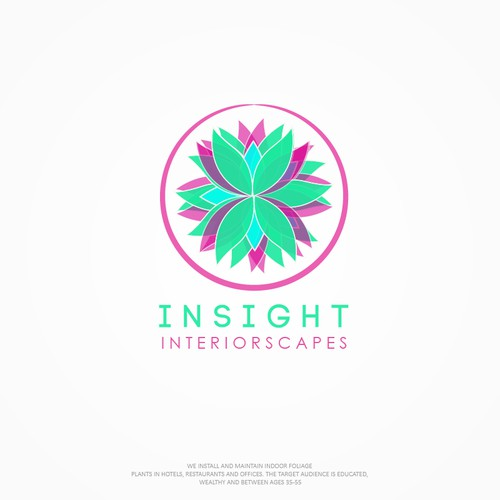 Green and pink logo with the title 'Interiorscapes logo for INSIGHT'